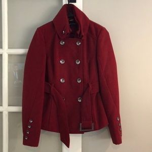 Black Rivet brand brick red pea coat